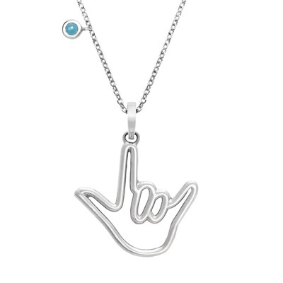 Silver w/ Turquoise Stone and Medium Love Sign™ Pendant Necklace