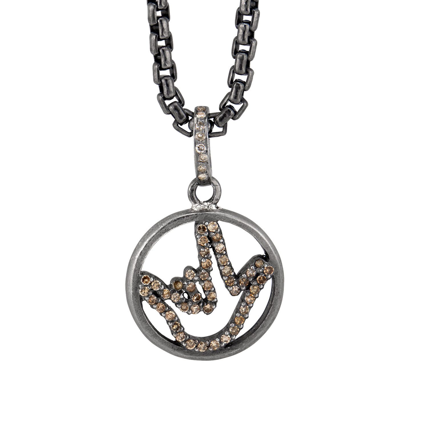 Special Edition Luxe Silver Love Sign™ Encircled Pendant with Salt and Pepper Diamonds