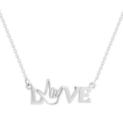 Sterling Silver LOVE Bar Pendant
