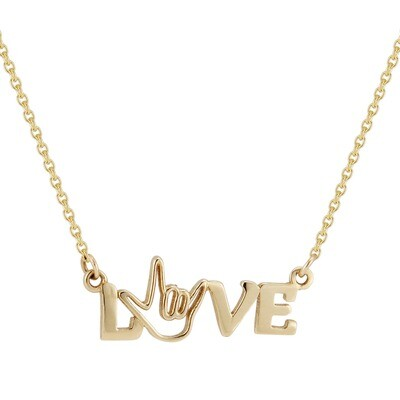 Gold LOVE Bar Pendant