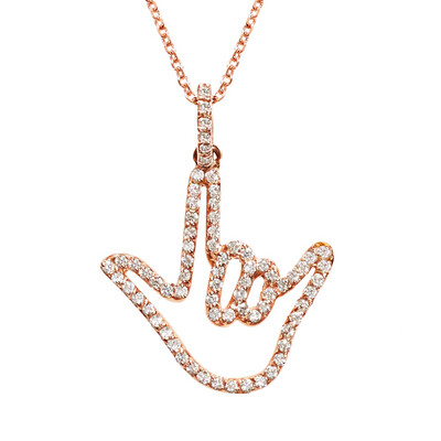 Rose Solid Gold Love Sign™ Pendant Necklace with Diamonds