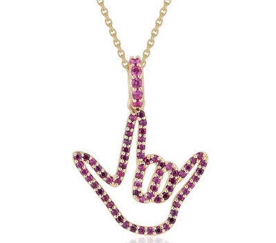 14k Yellow Gold Love Sign™ Pendant Necklace with Pink Sapphires