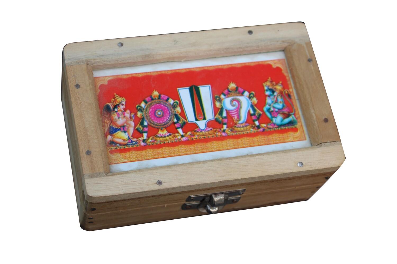 wooden Thirumann box - Thenkalai , மரத் திருமண் பெட்டி
