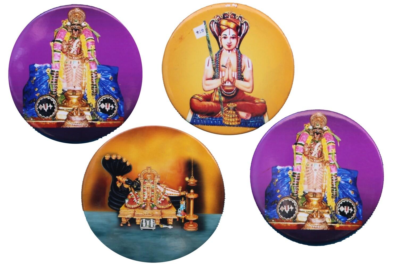Attractive pack of 4 divine Perumal Azhvar Acharyas image circular magnets
