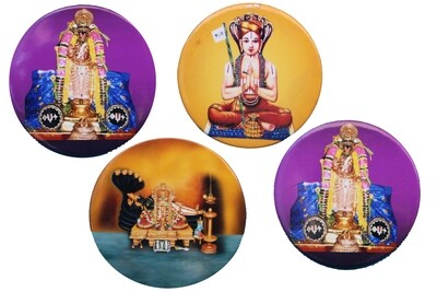 Attractive pack of 4 divine Perumal Azhvar Acharyas image circular magnets