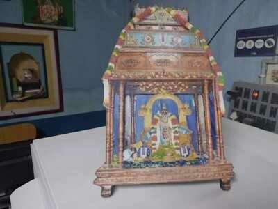 Wooden Lamination with Namperumal Oonjal / Unjal Image