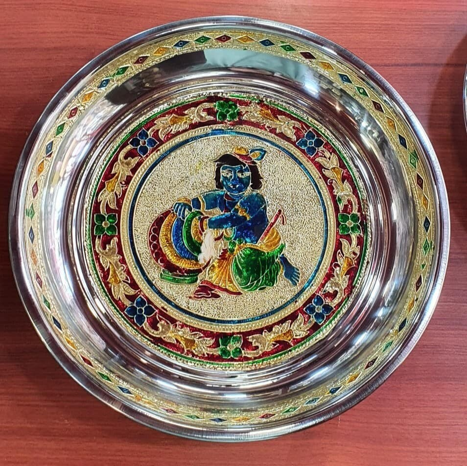Butter Krishna Minakari painting decorative plate