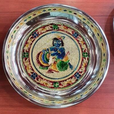 Butter Krishna Minakari painting decorative plate