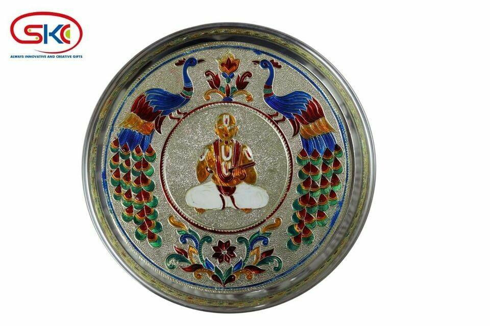 Sri Desikan Minakari painted plate