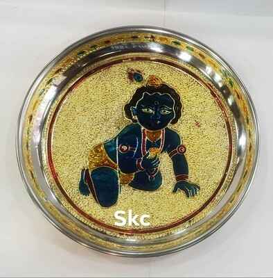 Laddoo Krishna minakari painted plate