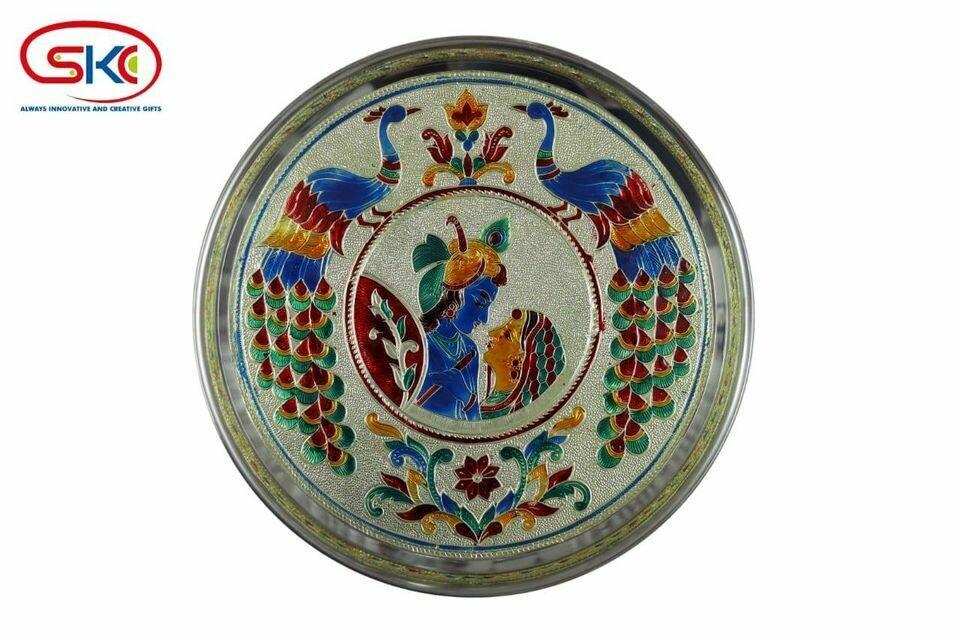 Radha krishna minakari painted plate