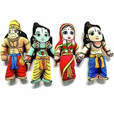 Lord Sri / Shri Ram / Lakshman / Laxman / Sita Maa / Hanuman set of 4 soft & cuddly toys
