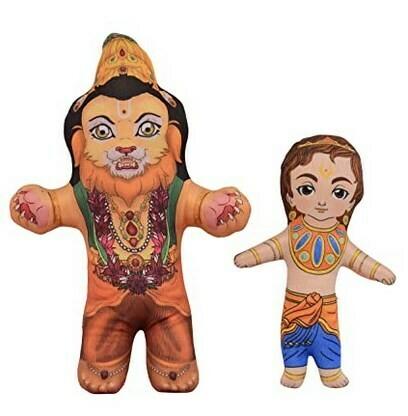 Lord Narasimha / Nrusimha  & Prahlad / Prahaladan set of 2 soft & Cuddly toys
