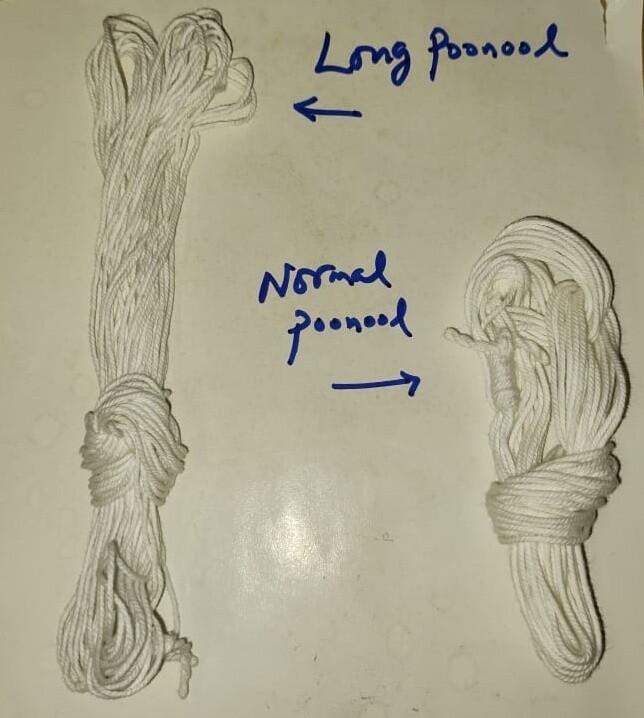 Long size poonool - pack of 4 Jodis  ( பூணூல் - யஜ்ஞோபவீதம் , நீளம் அதிகம் , 4 ஜோடிகள்.)