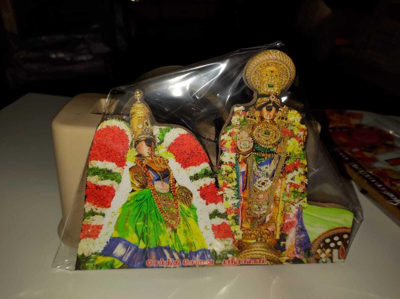 Namperumal Serthi Cutout 8x6 inches , Thayar Green Pavadai Cutout Lamination Stand / Wall mount  type