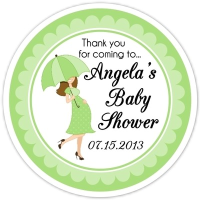 Green Baby Bump and Umbrella Baby Shower Stickers