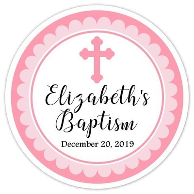 Pink Cross Baptism or Christening Stickers