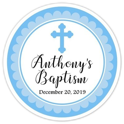 Blue Cross Baptism or Christening Stickers