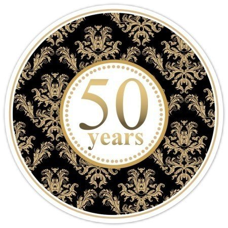50th Anniversary Black and Gold Damask Stickers