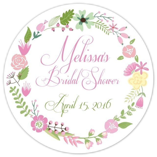 Pink Green Wreath Stickers