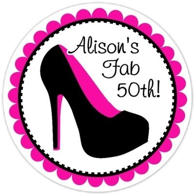 50th Birthday Black and Hot Pink Stiletto Stickers