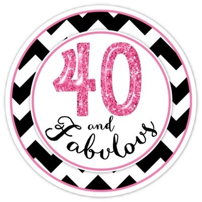 40 And Fabulous Black and Hot Pink Birthday Stickers