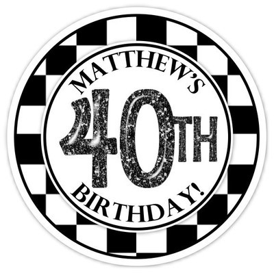 Black and White Check 40th Birthday stickers