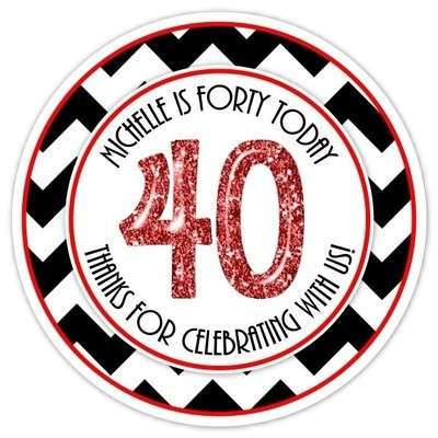 40th Birthday Black and Red Stickers