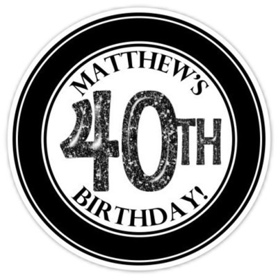 40th Birthday Stickers, Black and White