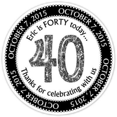 Black and White Glitter 40th Birthday stickers