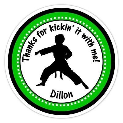 Boy Green Karate Birthday Stickers