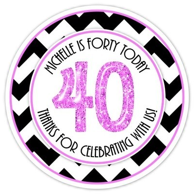 40th Birthday Black and Hot Pink Stickers