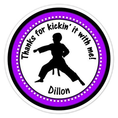 Boy Purple Karate Birthday Stickers