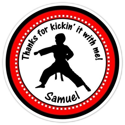 Boy Red Karate Birthday Stickers