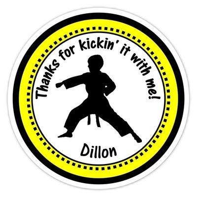 Boy Yellow Karate Birthday Stickers