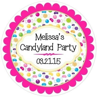 Candy Land Birthday Stickers