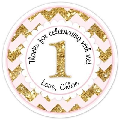 Chevron Pink and Gold Glitter 1st Birthday Stickers