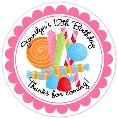 Candy Land Birthday Stickers, Design 2