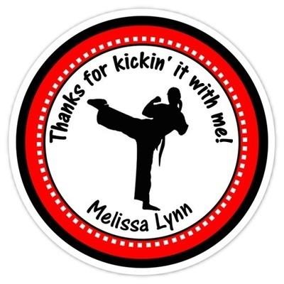 Girl Karate Birthday Stickers