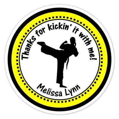 Girl Green and Black Karate Birthday Stickers