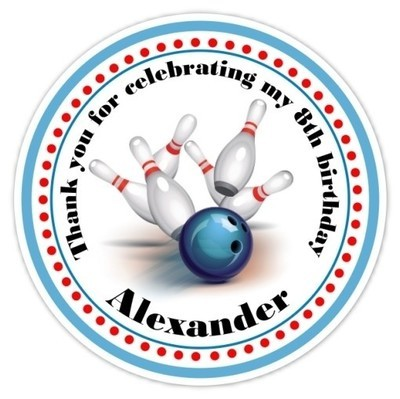 Personalized Bowling Stickers - Blue and Red
