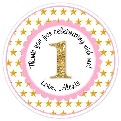 Pink and Gold Glitter Stars First Birthday, Twinkle Little Star