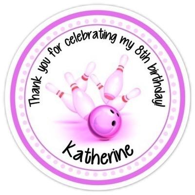 Pink Bowling Birthday stickers