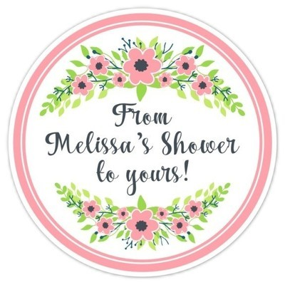 Pink and Green Floral Wedding Shower Stickers