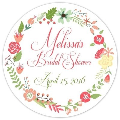 Coral and Green Wreath Bridal Stickers