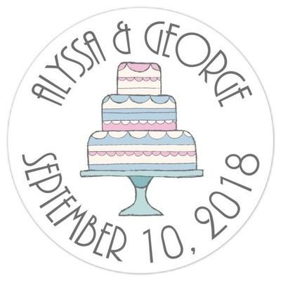 Doodle Cake Wedding Stickers