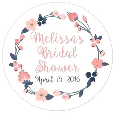 Pink Blush and Navy Wreath Bridal Stickers