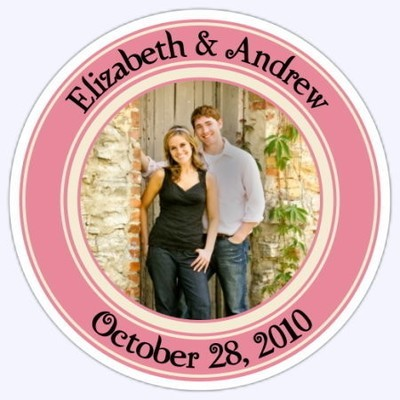 Wedding Photo Stickers - Coral and Cream