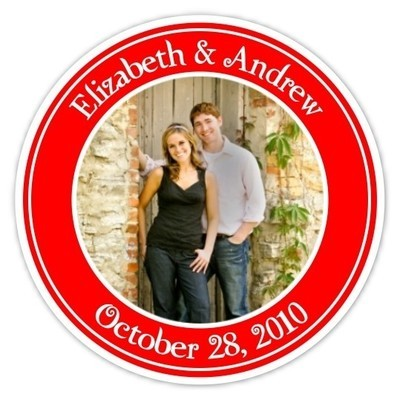 Wedding Photo Stickers - Red and White