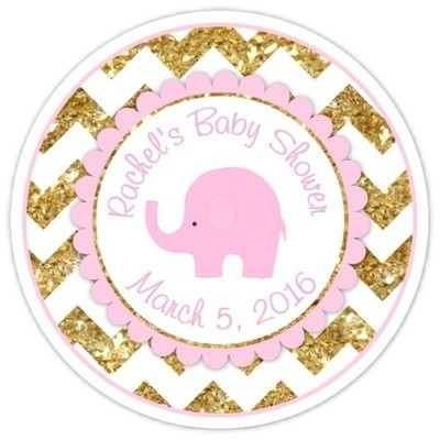 Gold Pink Chevron Elephant Baby Shower Stickers